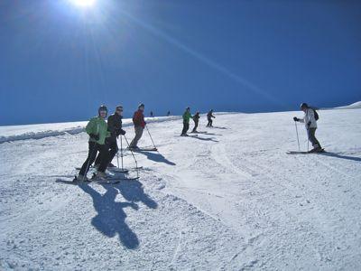 Inside Out clients on the Grand Motte glacier, Tignes