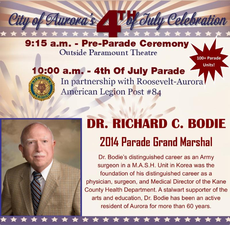 CITY OF AURORA -  4TH OF JULY PARADE AND FREE SHUTTLE BUS TO THE FIREWORKS SCHEDULES!