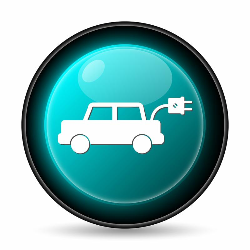 Electric car icon. Internet button on white background.