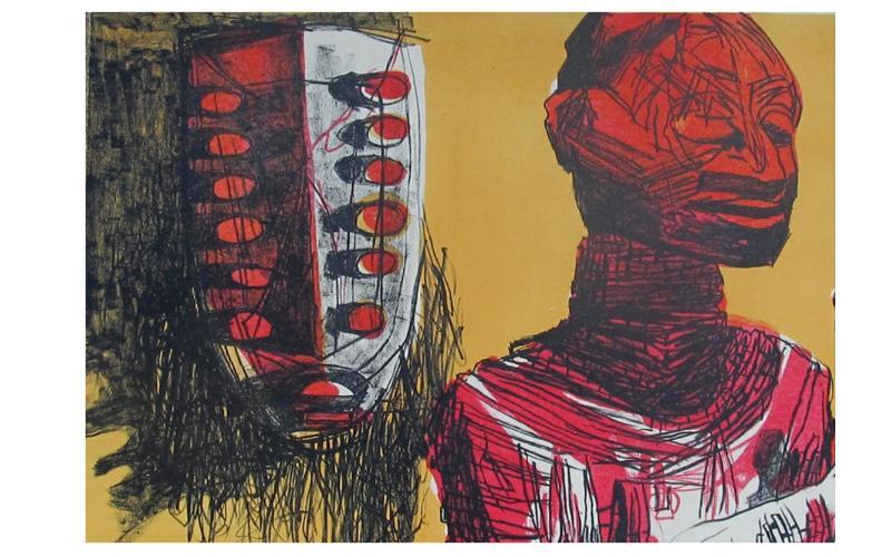 Nhlanhla Xaba, Untitled (Singer with Mask), 1999. Lithograph, 9/20,