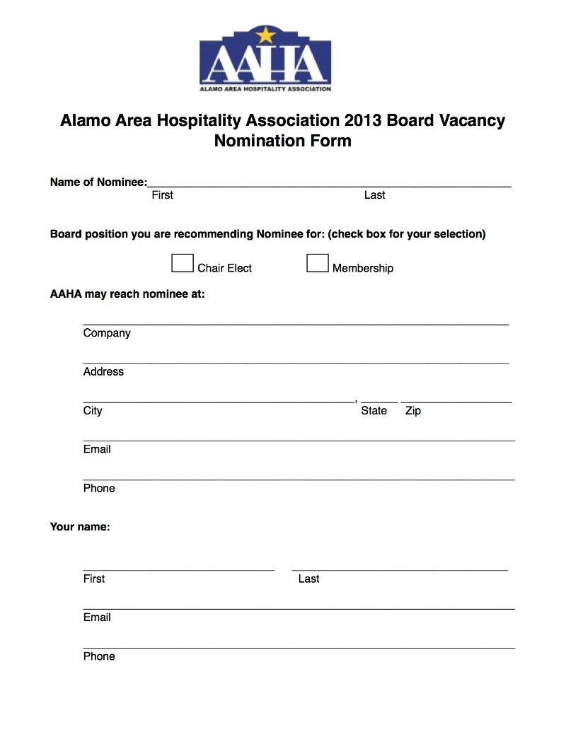 2013 Board Nomination Form