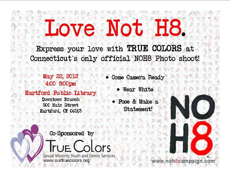 NOH8 May 22nd, 4:00 - 7:30 PM, Hartford Public Library
