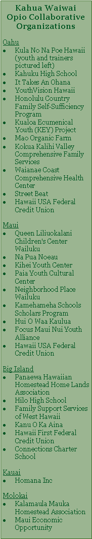 Kahua Waiwai Collaborative Orgs