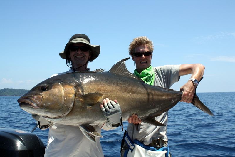 Big amberjack caught on a live tuna