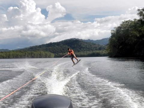 Wakeboarding on the Sierpe River