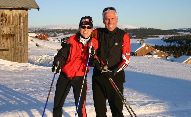 Fred and his wife Sue out for a ski