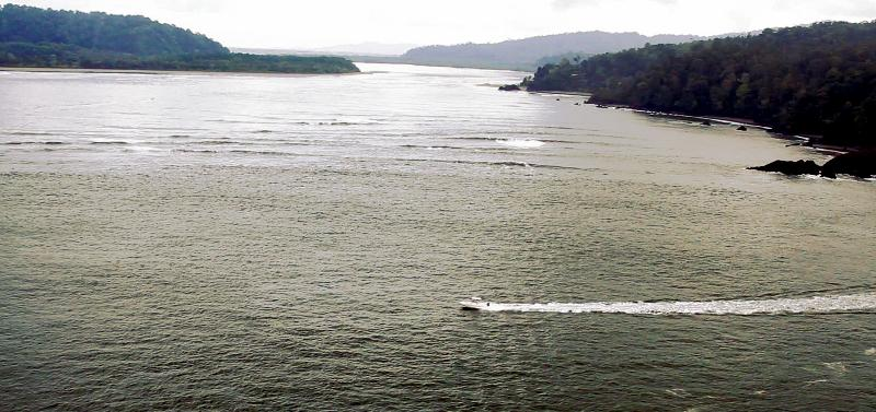 A Boat exiting the Sierpe River Mouth