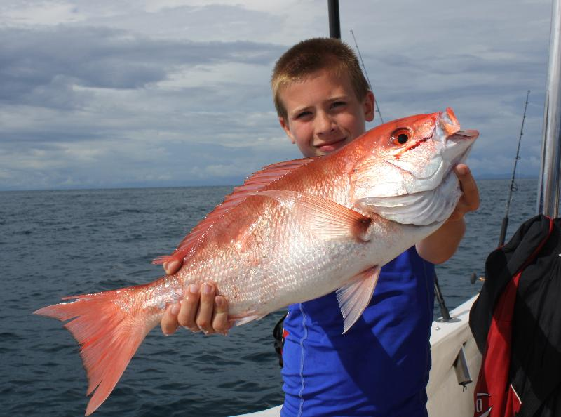 Nice silky snapper caught by an enthusiastic young fisherman