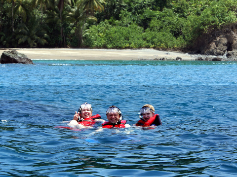 A Happy Family Snorkels at Cano Island