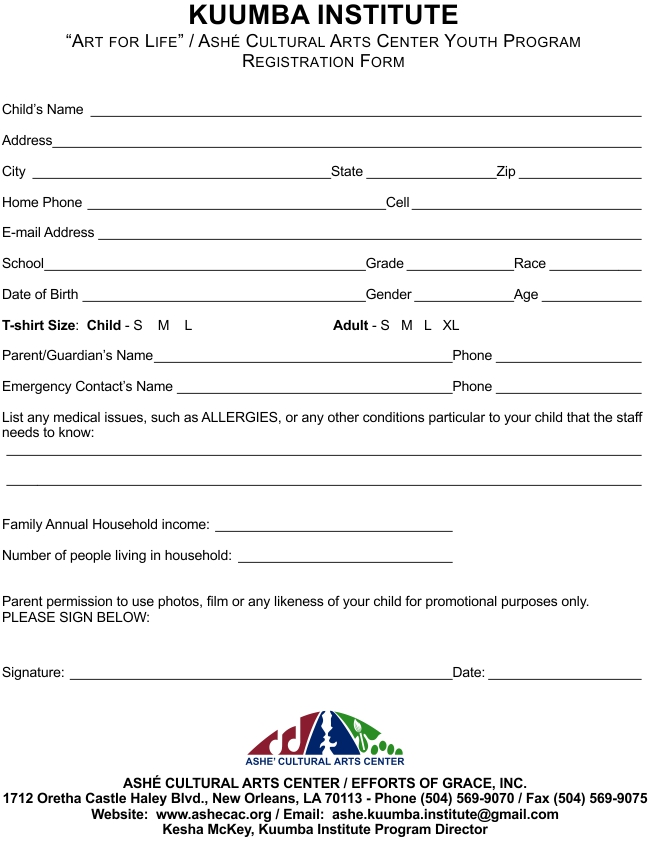 Kuumba Registration Form