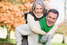 happy elderly fall couple
