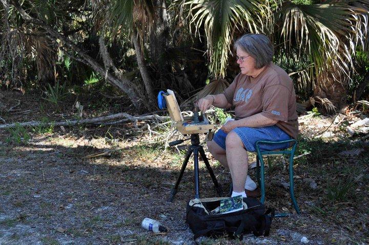 Linda Paints at Canaveral Seashore