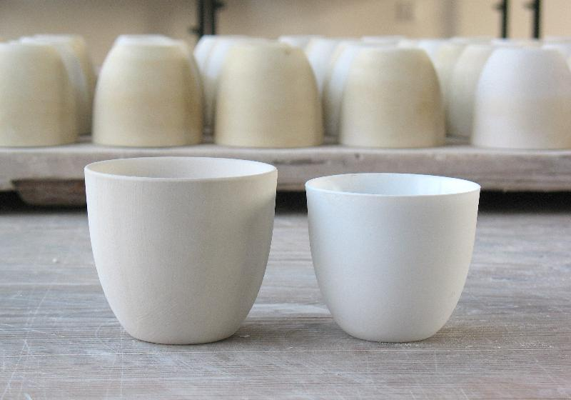 Slow Dialogue cups before and after firing