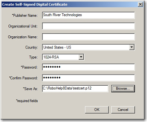 Digital Certificate dialog box