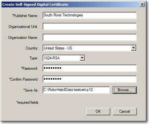 Digital Certificate dialog box
