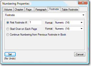 Footnote Numbering Properties