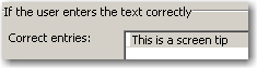 Text Entry Box showing the correct entry