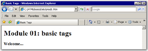 Web page with heading tags