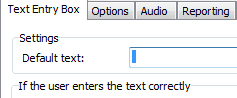 Text entry box with initial value set to a blank space.