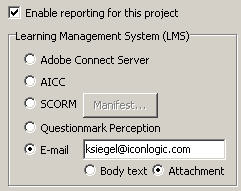 Enable e-mail reporting in Captivate 3
