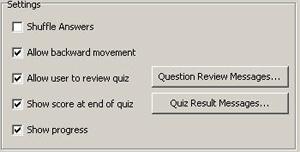 Captivate Quiz  Settings: Show score at end of quiz