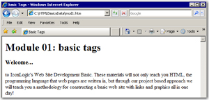 How paragraph tags look when viewed in a Web browser