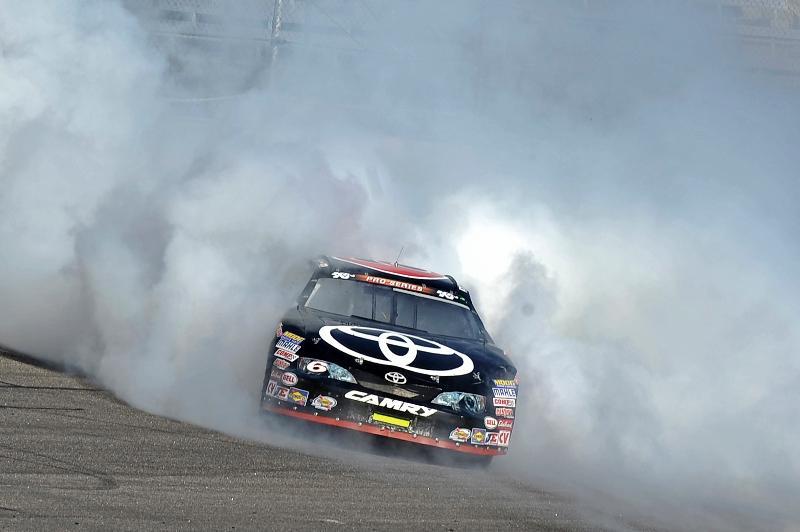 Kyle Larson celebrates his 2012 K&N East Championship at Rockinngham Speedway.