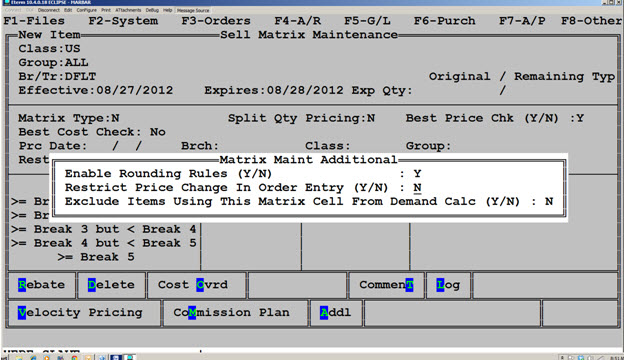 Sell Matrix Enable Rounding Rules Screen