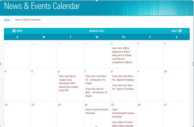 News & Events Calendar