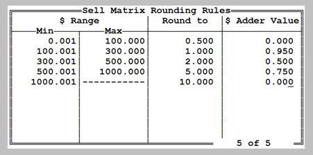 Sell Matrix Rounding Rules Screen