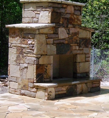 Outdoor Fireplace by Ryan O'Rielly with stone from Stone Garden
