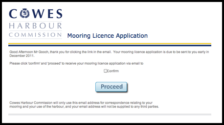 Mooring Licence Application