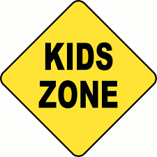 Kids Zone caution sign
