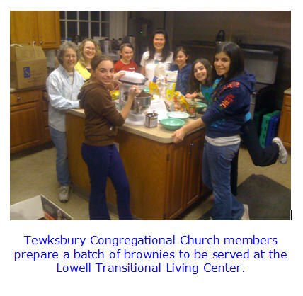 Tewksbury Congregational Church members prepare a batch of brownies.