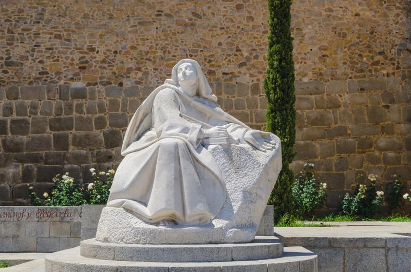 Statue of Santa Teresa de Jesus in the city of Avila Castile and Leon Spain