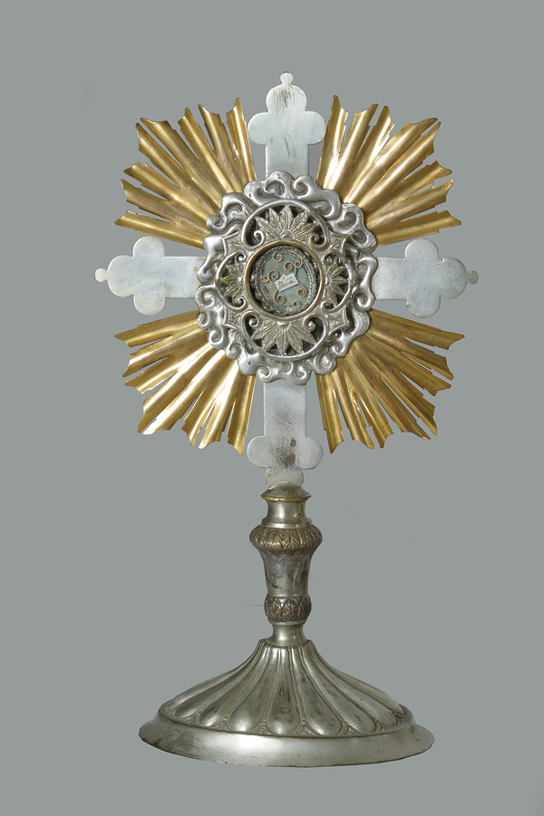 A monstrance is the vessel used in the churches to display the consecrated Eucharistic Host