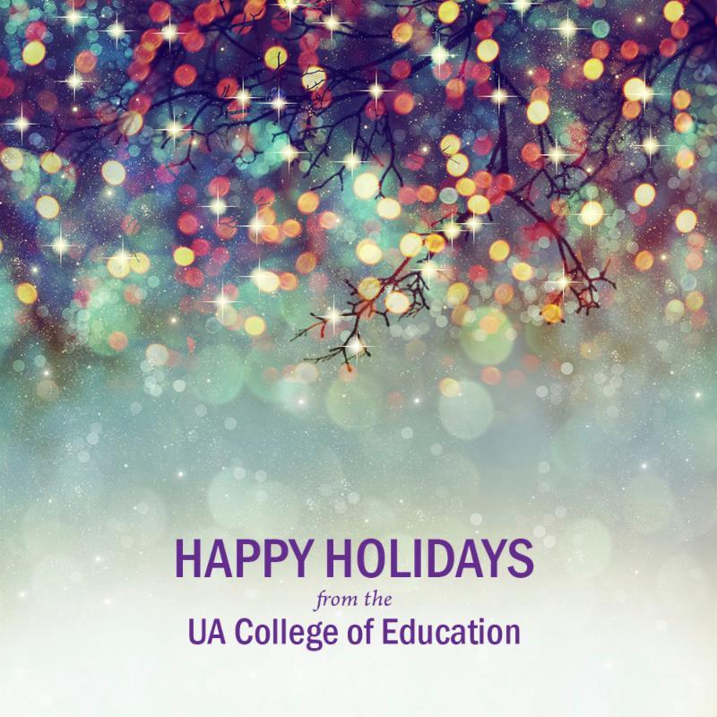 holiday lights and happy holidays