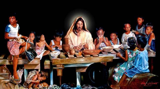 Philippine street children w Jesus