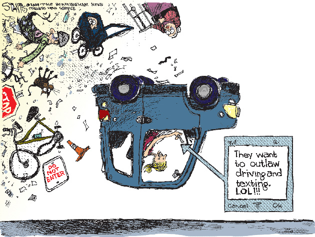 Texting and Driving Cartoon