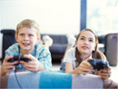 Kids playing videogames