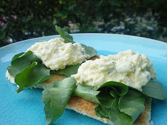 Open Face Egg Salad and Watercress Sandwich. --Photo by