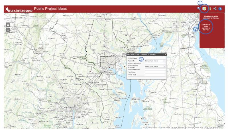 Maximize2040 Public Project Ideas - Interactive Mapping tool