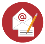 Red circle with email and letter symbol