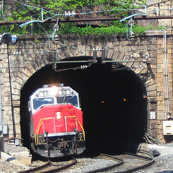 B and P Tunnel with train