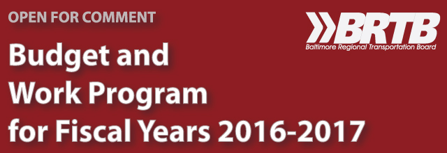 BRTB Budget and Work Program (UPWP) for FY 2016 and 2017
