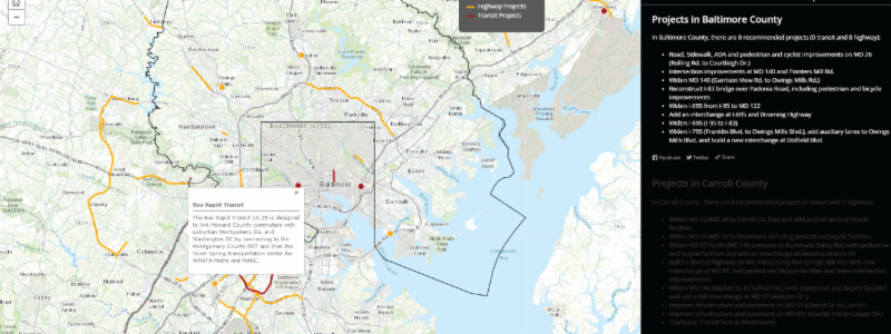 Story Map Screenshot of Baltimore County Slide and Howard County Bus Rapid Transit Project Description