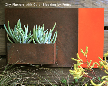 City Planter Color Blocking On Wood