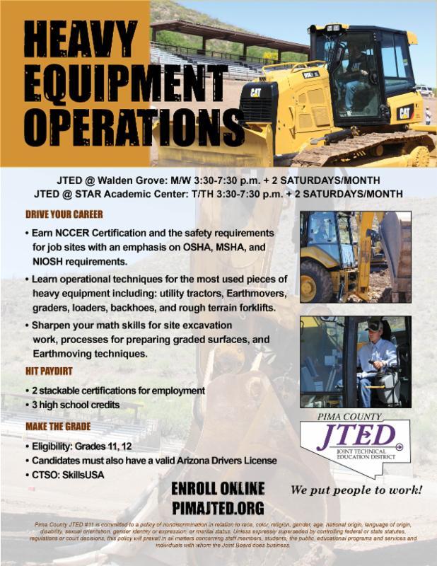 Heavy Equipment Operations flyer