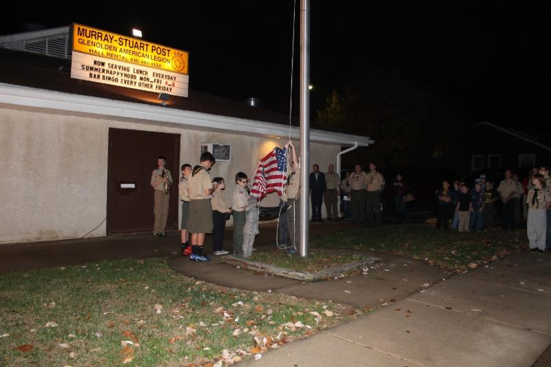 Senior Patrol Leader Sean Serpico leads the flag ceremony at Murray Stuart Post in Glenolden Thursday evening.