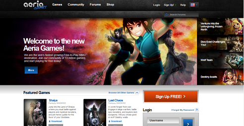 Aeria Games Website Screencap